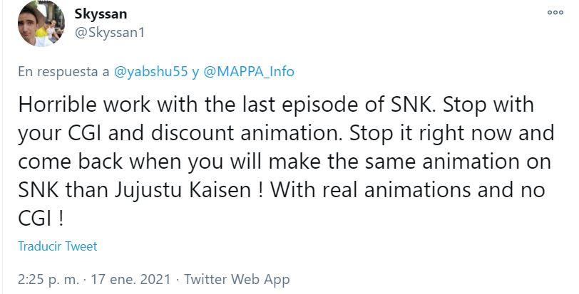 Shingeki no Kyojin 4: Fans atacan a Studio Mappa e insultan a animador que ni siquiera trabajó en el capítulo 6